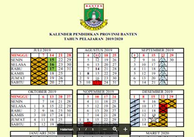 Kalender Pendidikan 2019/2020 Banten