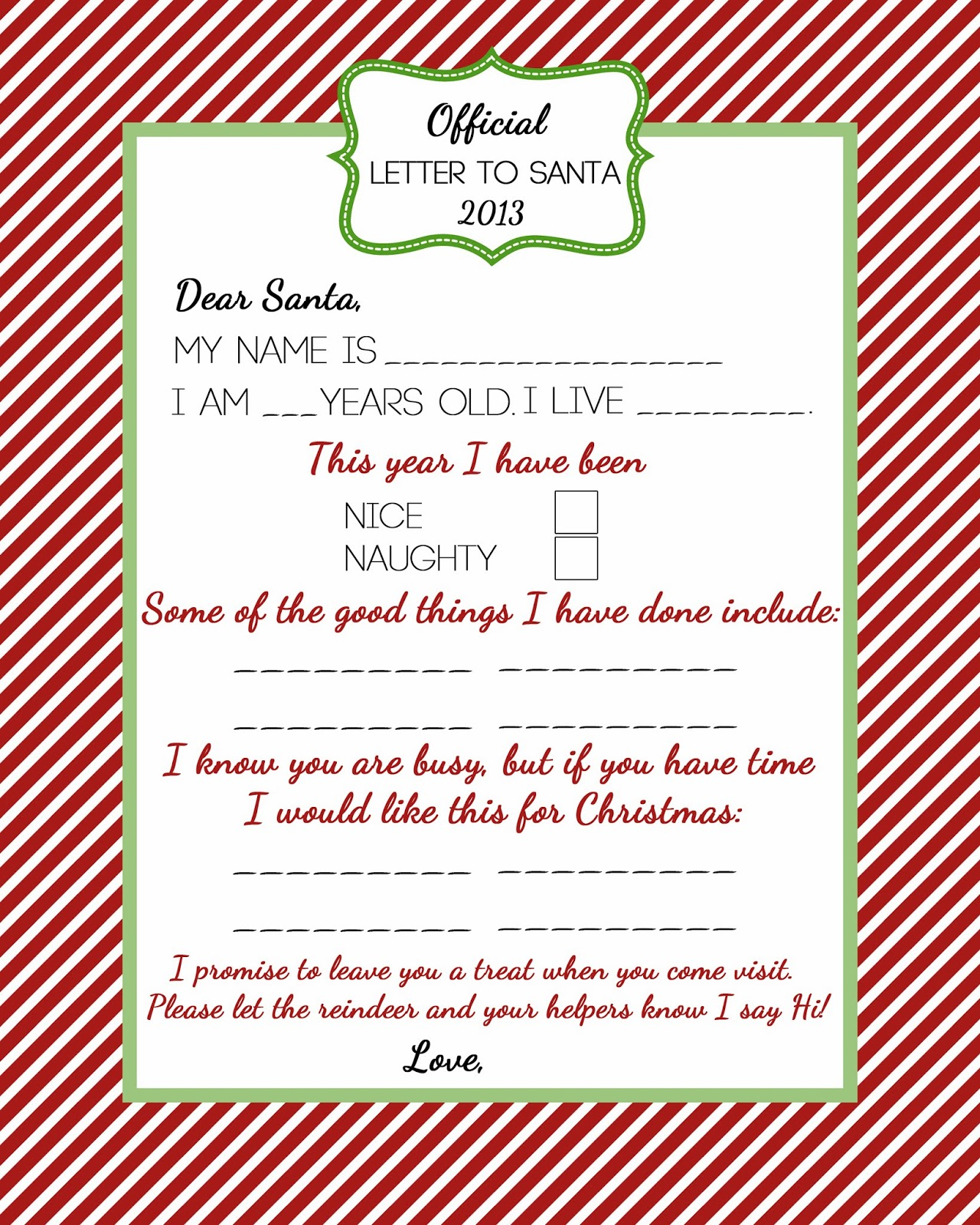 Free Letter From Santa Naughty List