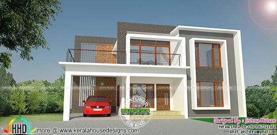 Modern flat roof residence
