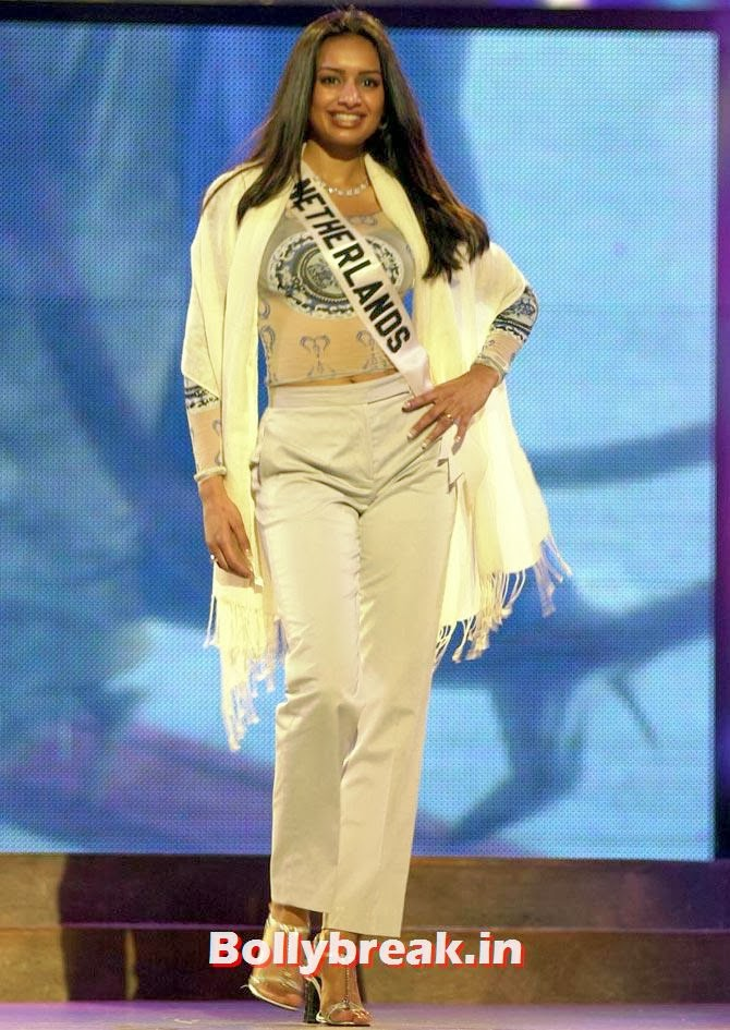 Reshma Roopram, Miss Netherlands 2001, poses while rehearsing May 9, 2001 for the 50th Annual Miss Universe Competition in Bayamon, Puerto Rico. Miss Universe 2001 will be crowned on May 11., Indian Women who have won Beauty Peagents across the World