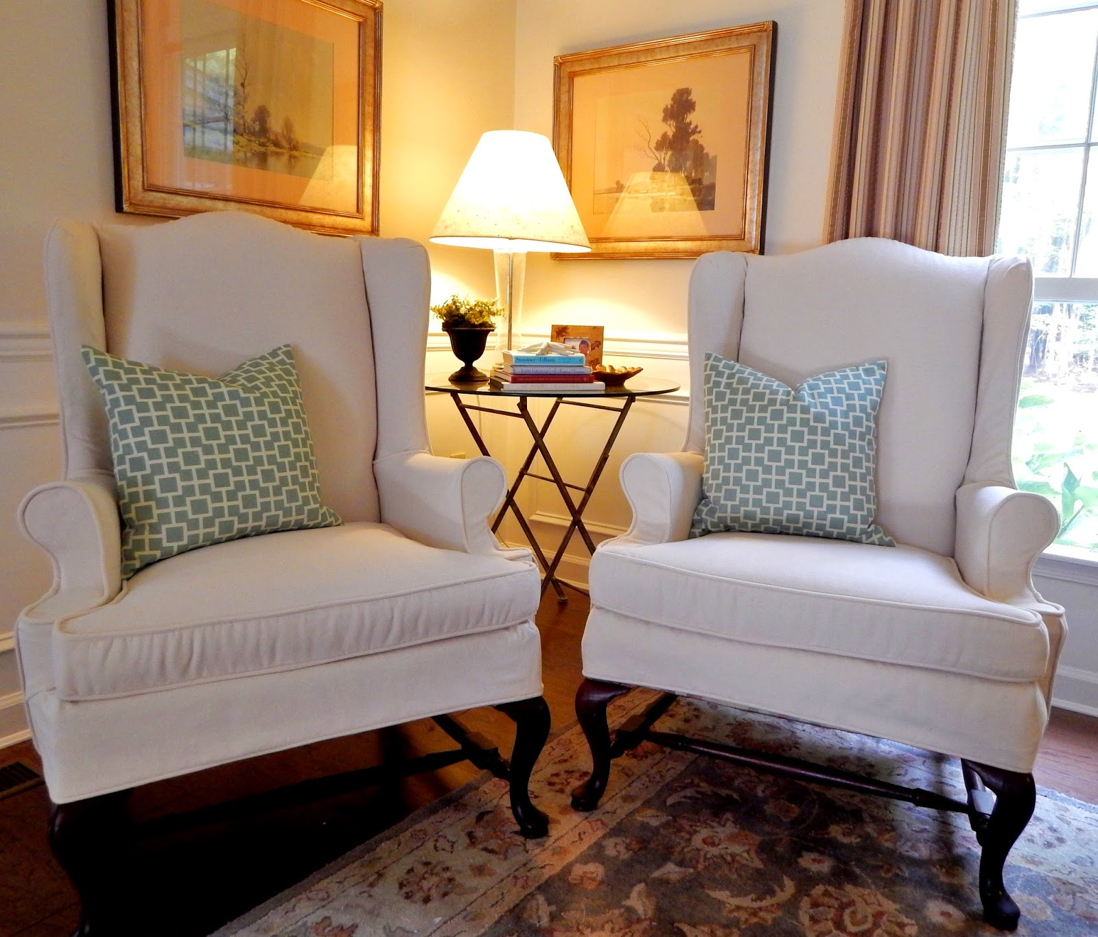 Pottery Barn Slipcovers: Pam Morris Sews: Pottery Barn Brushed Canvas On Wing Chairs