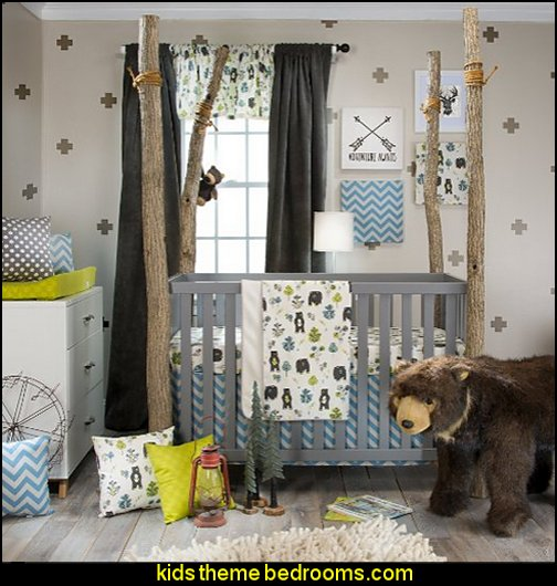 Glenna Jean North Country 3 Piece Crib Set log cabin - rustic style decorating - Cabin decor - bear decor - camping in the northwoods style  - Antler decor - log cabin boys theme bedroom - Cabin Bedding - Rustic Bedding - rustic furniture - cedar beds - log beds - LOG CABIN DECORATING IDEAS - Swiss chalet ski lodge murals - camping room decor - hunting and fishing theme decorating
