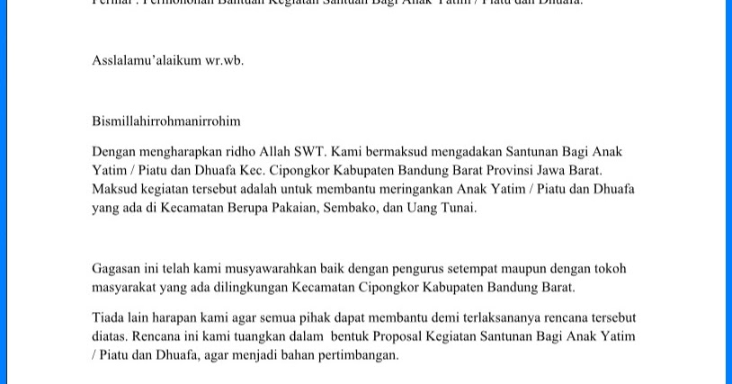 Contoh Cover Proposal Permohonan Dana Detil Gambar Online