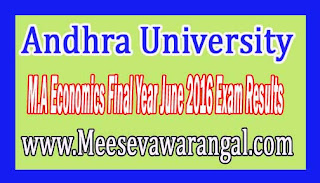 Andhra University M.A Economics Final Year June 2016 Exam Results