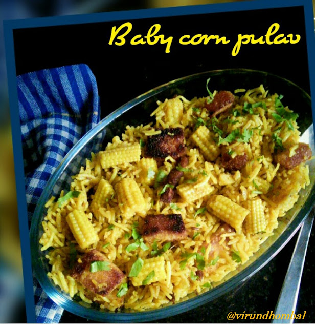 Baby corn pulav is so easy to prepare, but has a unique combination of flavours, even though all the ingredients are easily available in your kitchen. This pulav is colourful, beautiful and will be great for lunch boxes, simple family potlucks or even for your next dinner party. The rice is flavoured with cumins, cinnamon, bay leaves, cloves and star aniseed. In addition, you can add some more spices. I like to have green chillies for this pulav because it produces the right amount of heat and flavour without being too overwhelming. If you like a more orange or red colour appearance for this pulav then include red chilly powder. This baby corn pulav  is one of my son's favourite lunch box dish. When I am cooking pulav or fried rice he really likes and he helps me in the kitchen. He likes fried bread cubes in the biriyani, so I have added the fried breads in this pulav also. As always, when cooking biriyani or pulav, I start cooking on a broad kadai and finish in the cooker. This method helps to produce the rice fluffy with each grains separate and prevents from sticking at the bottom of the cooker. Let's see how to prepare this Baby corn pulav with step by step pictures.