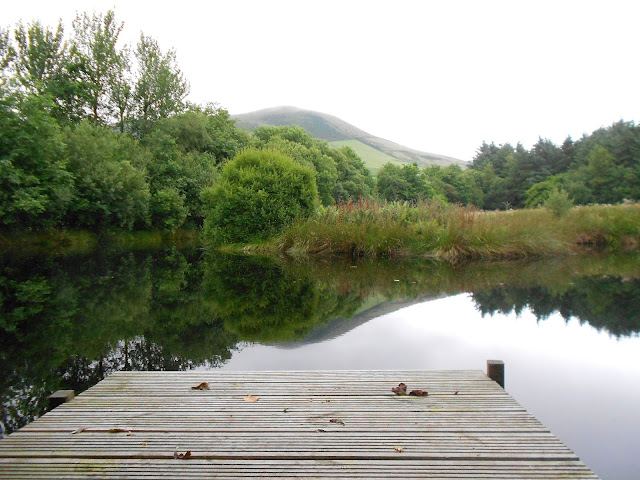 jetty on the lake at Gwalia Farm, near Machynlleth in North Wales