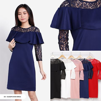 dress natal warna biru model terbaru 2018-2019