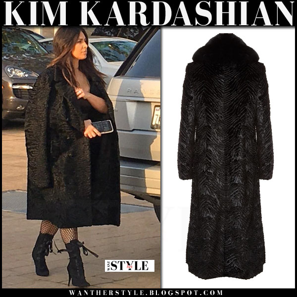 b7be3f3d5733 Kim Kardashian in black faux fur coat in Malibu on March 19 ~ I want ...
