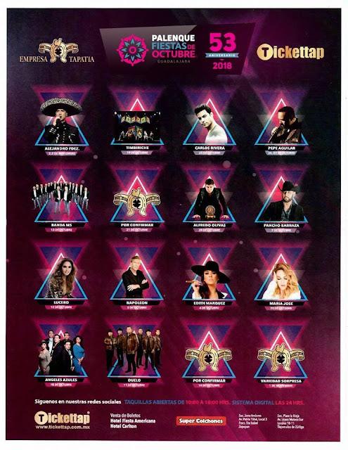 Agenda de eventos boletos y fechas del palenque Fiestas de Octubre 2018 en Guadalajara
