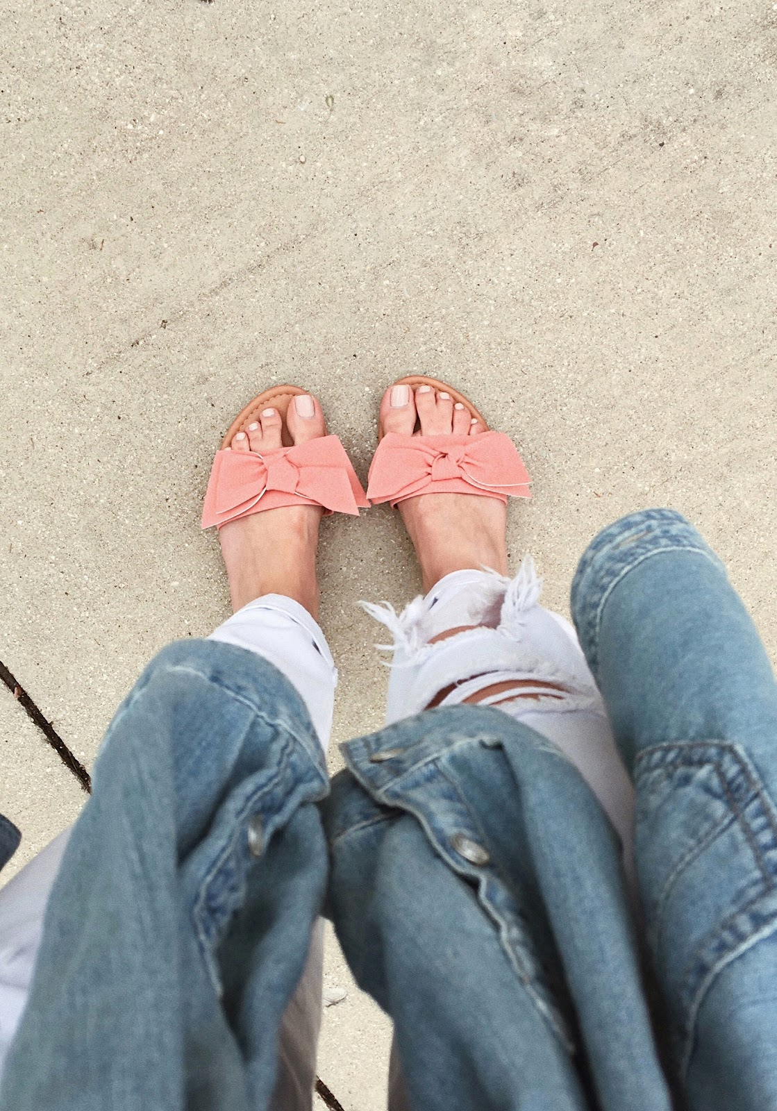 Blue Suede Shoes NY Pink Bow Sandals