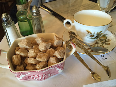 Brown sugar cubes and an adorable individual tea cup at Reynold's Tavern