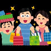 たくさん買い物をする家族のイラスト(アジア人)