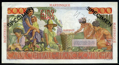 World Paper Money Banknotes Currency Martinique Francs