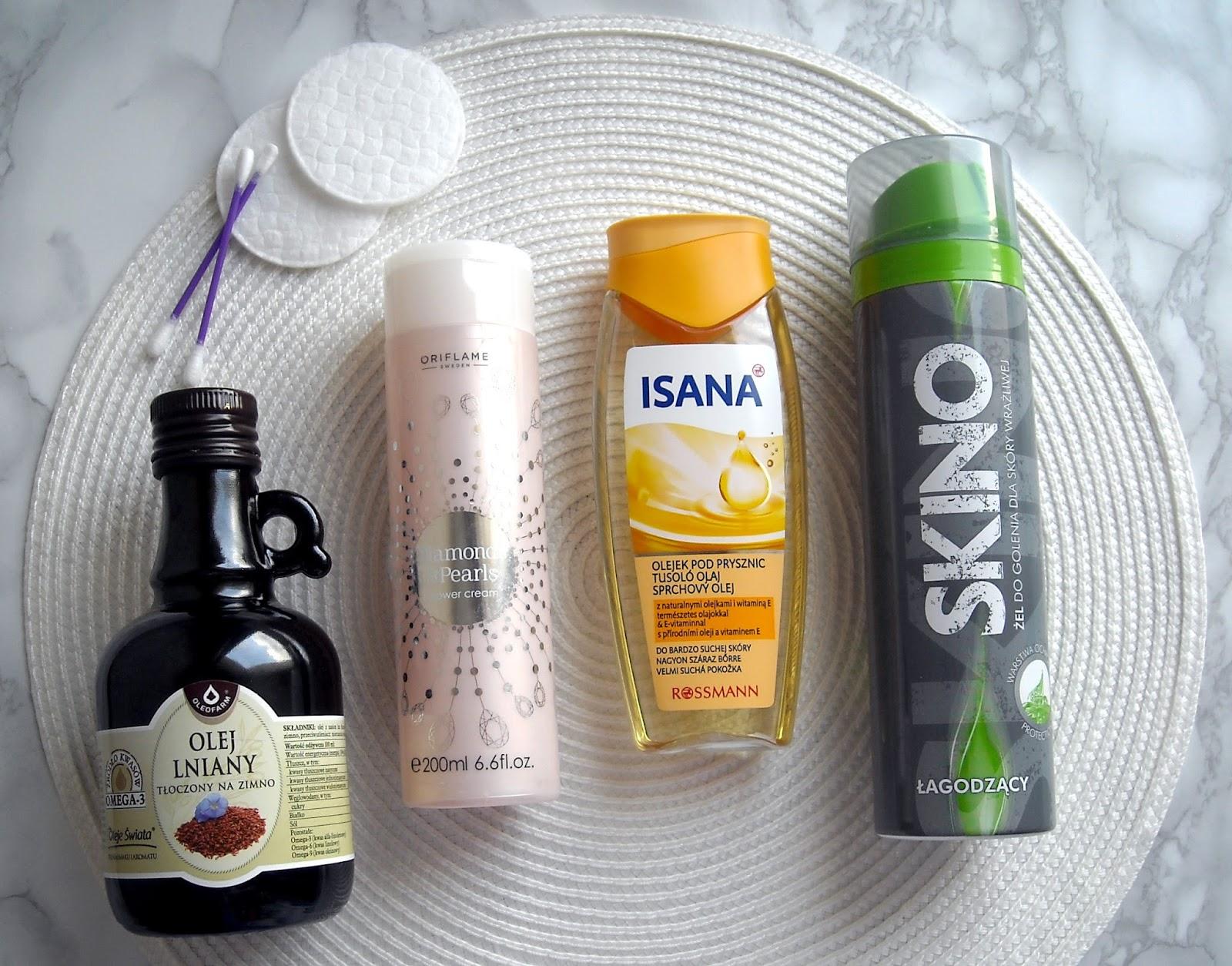 Denko kosmetyczne - olej lniany, krem pod prysznic Oriflame, Isana olejek pod prysznic i żel do golenia Skino
