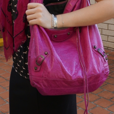 Balenciaga Day bag in 2005 magenta with black dog print top matching skull scarf | awayfromtheblue