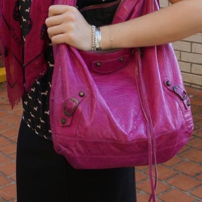 Balenciaga Day bag in 2005 magenta with black dog print top matching skull scarf | awayfromtheblue