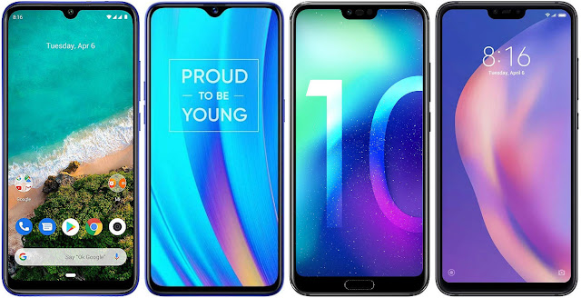 Xiaomi Mi A3 128G vs Realme 3 Pro 64 GB vs Honor 10 64 GB vs Xiaomi Mi 8 Lite 128G
