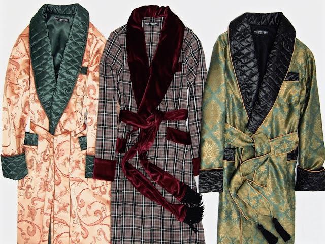 Mens silk dressing gown robe smoking jacket