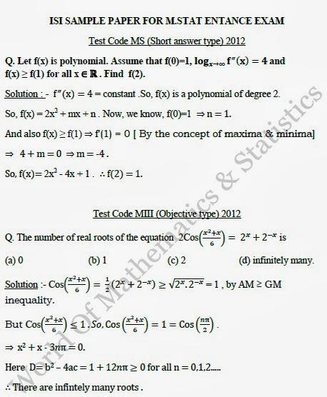 classes of mathematics statistics economics isi  isi 2012 sample papers solution