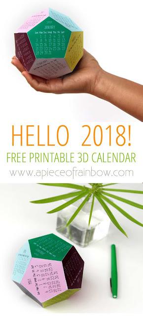 free 3D 2018 printable calendar
