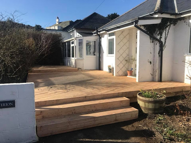 Larch timber deck Borth