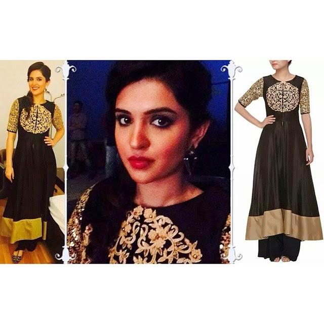 @deeksha721spotted wearing our black and gold asymmetric suit for a performance. deeksha seth , black , gold , gorgeous , shruti sheth de ,, Deeksha Seth Latest Photo Shoot Pics