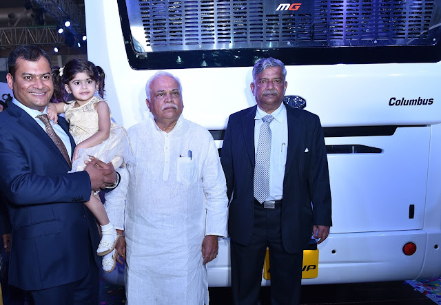 Hon'ble minister Shri R. V. Deshpande along with Mr. Anil Kamat, MD, MG Group and Mr. Mohan Kamat, Founder & Chairman, MG Group at the launch of Columbus Bus at Bus World India 2016