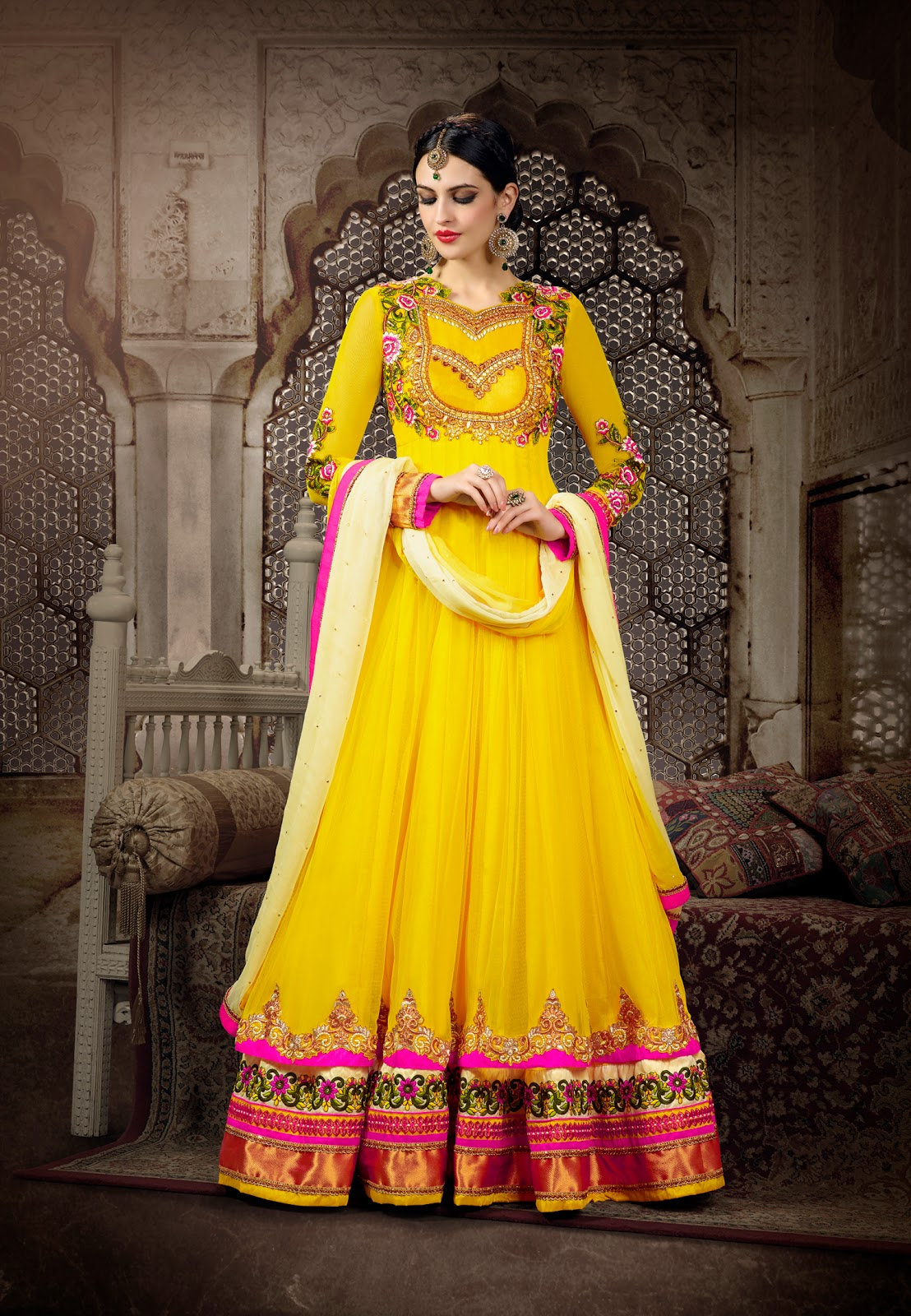 e8009034c3 Fabdeal Amazon UK, we have a nice and finest collection of designer long Anarkali  Suits which are perfect for marriage functions.