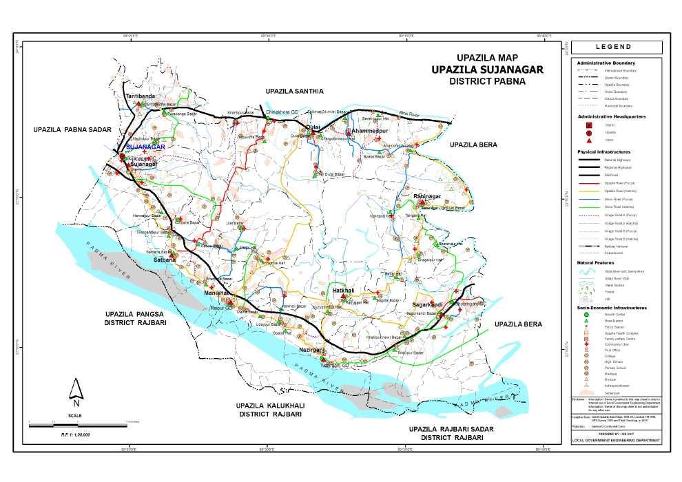Sujanagar Upazila Map Pabna  District Bangladesh