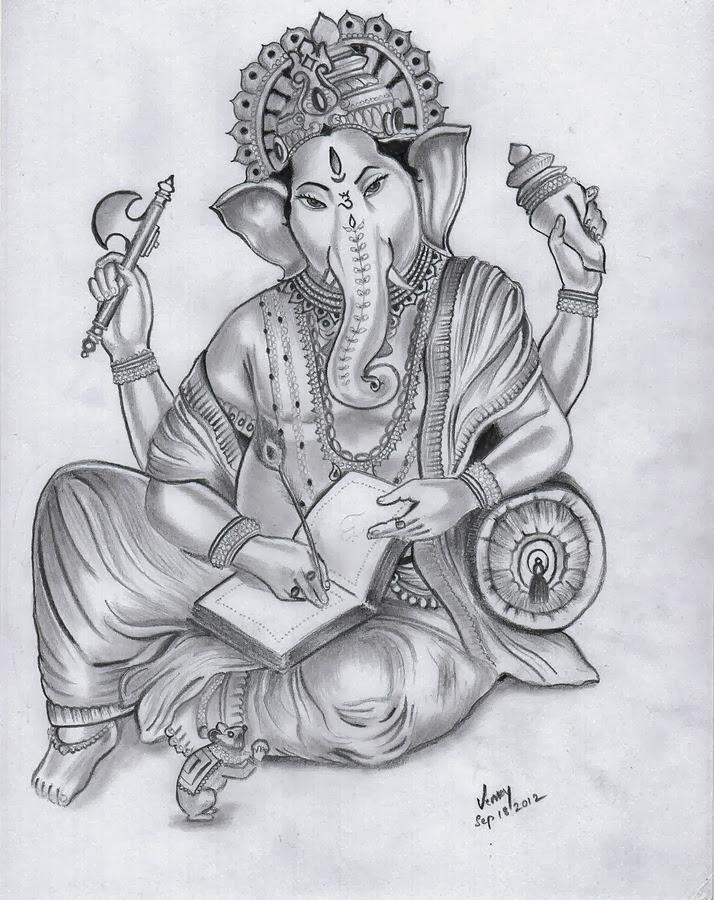 Lord Ganesha Pencil Sketch Art