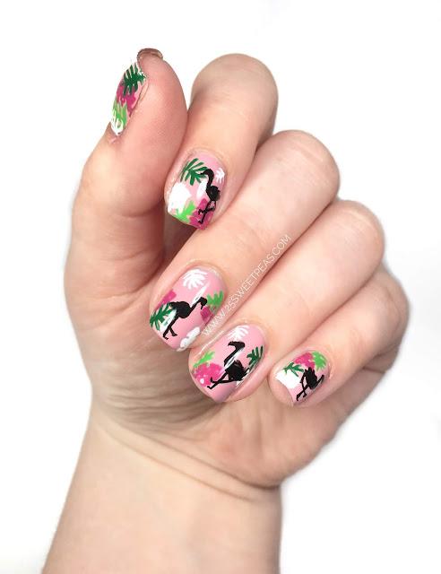 Tropical Leaves and Flamingo Nail Art