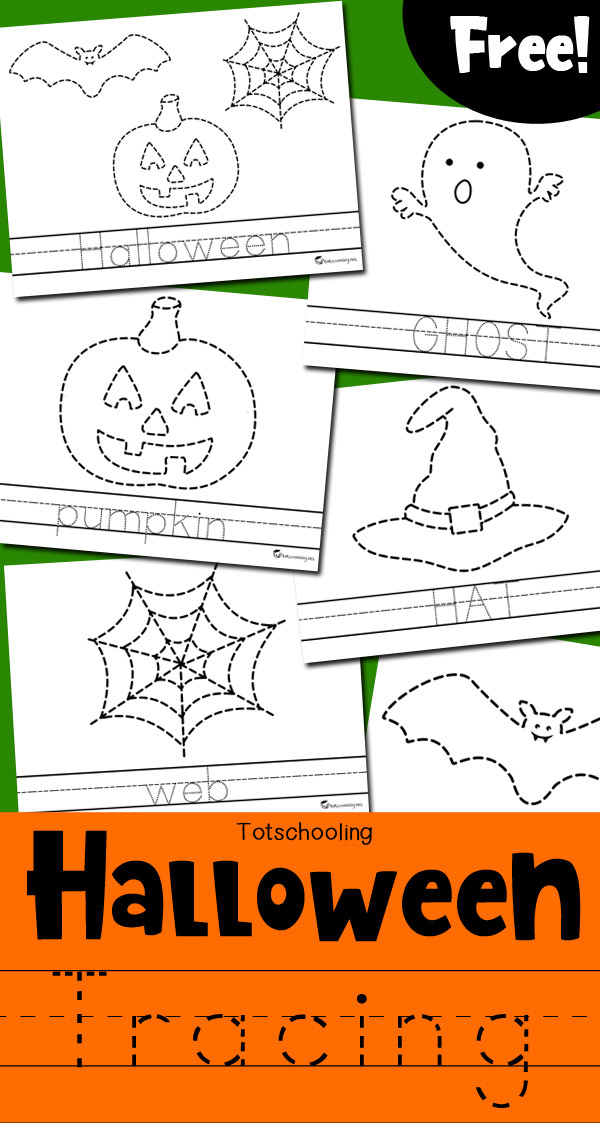 Halloween Tracing Worksheets | Totschooling - Toddler, Preschool ...
