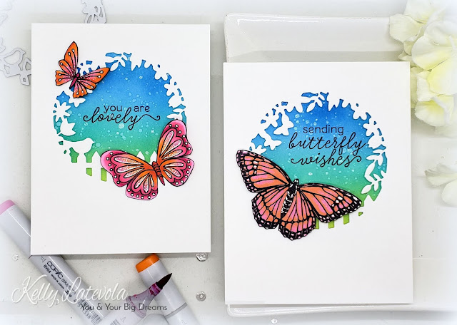 Hero Arts ~ BUTTERFLY ~ STAMP and DIE Sentiment Set ~ NEW