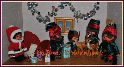 kiki, kiki le vrai, monchhichi, noël, Père Noël, traineau, rennes, cadeaux, mcc, lutins, contes