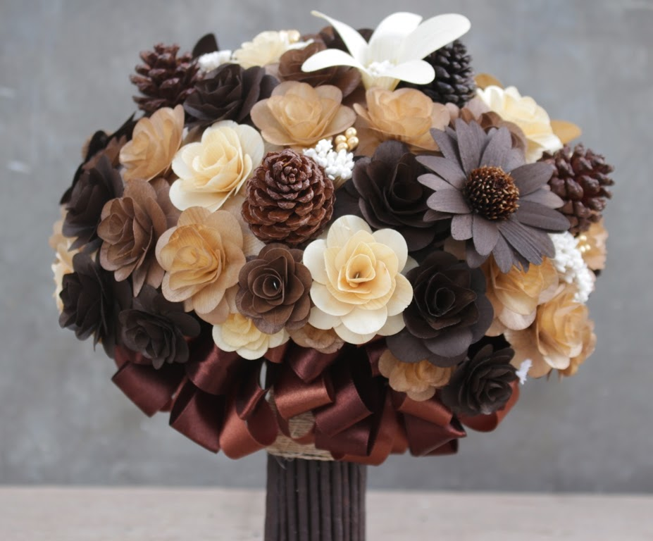 Rustic Brown And Ivory Wedding Bouquets, Corsages Made Of