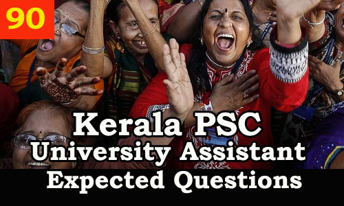 Kerala PSC Model Questions for University Assistant Exam 2019 - 90