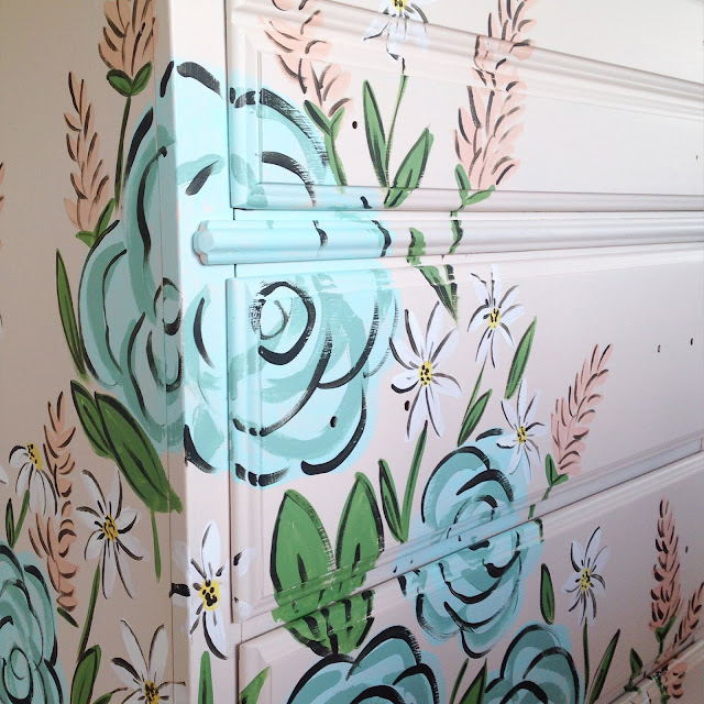 Dresser Makeover | Tones for Tots | Fusion Paint | adding hand painted flowers
