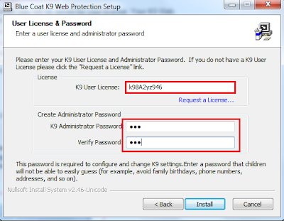 Masukkan licensi K9 Web Protection dan buat password administrator