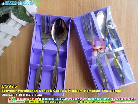 Souvenir Pernikahan Sendok Garpu Set Dalam Kemasan Box Elegan
