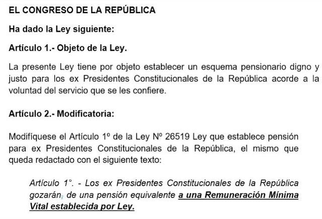 Proyecto de Ley, para reducir pensión vitalicia de los expresidentes Perú