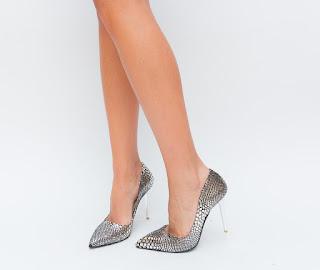 Pantofi Argintii eleganti de ocazii moderni si ieftini