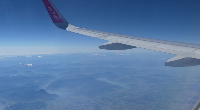 Imprssion Rückflug Sibiu - Nürnberg mit Wizzair - Alpen von oben