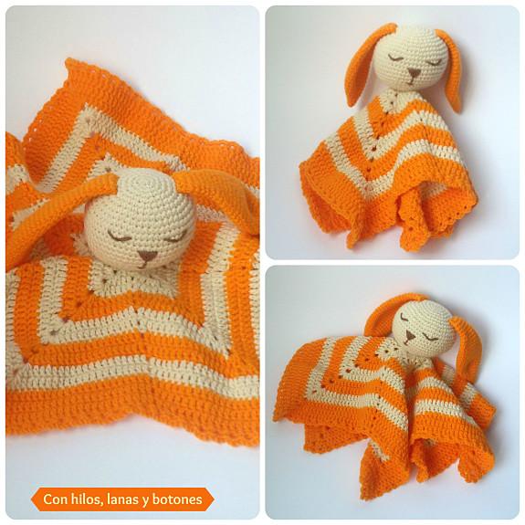 Con hilos, lanas y botones: manta de apego amigurumi con forma de estrella
