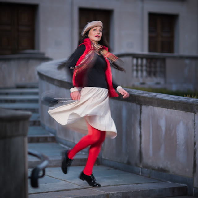 red tights, patent leather brogues, american in paris