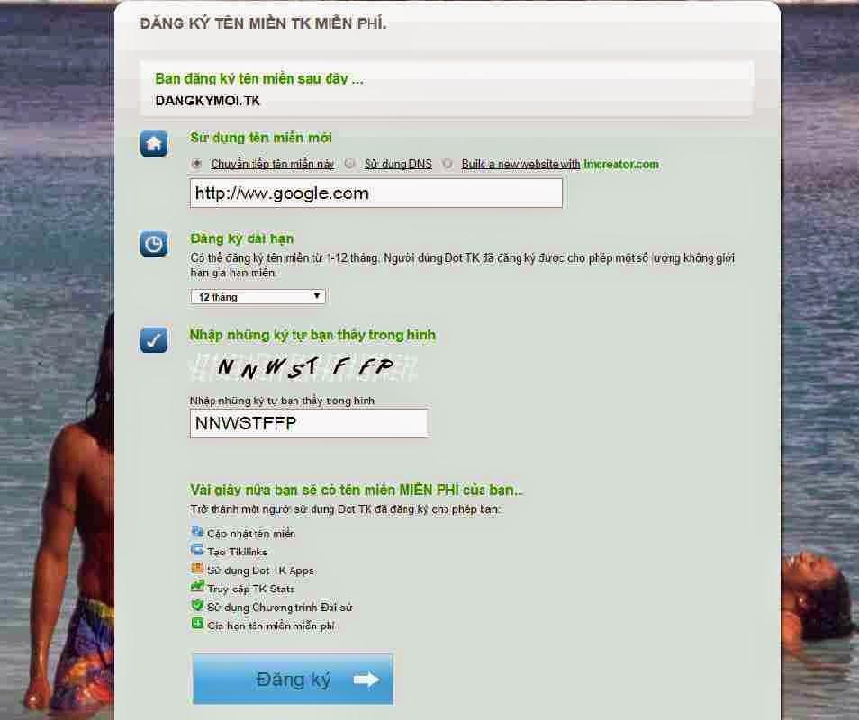 Hướng dẫn đăng ký tên miền miễn phí Dot.TK