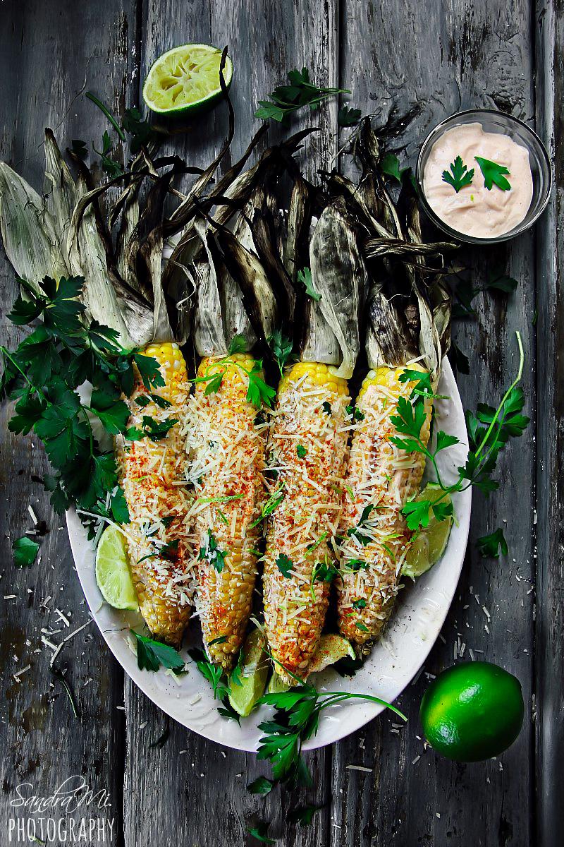 Grilled Corn on the Cob with Husks (and Mayo-Sriracha Sauce)