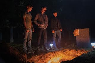 "Alexander Calvert as Jack, Jared Padalecki as Sam, Jensen Ackles as Dean in Supernatural 13x04 ""The Big Empty"""