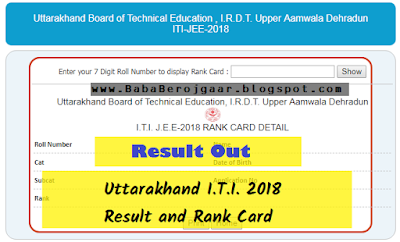 Uttarakhand I.T.I. Entrance Exam 2018 Result Out, check here
