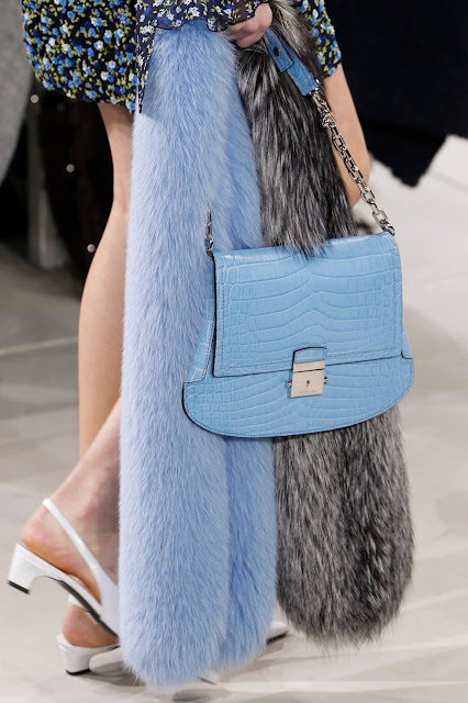 A powder blue croc bag by Michael Kors Collection Fall 2016 NYFW {Cool Chic Style Fashion}