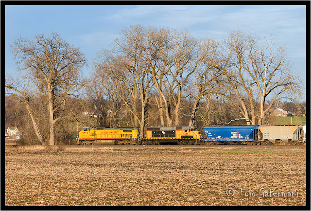 UP 9539 and LTEX 9898 at Columbia, IL.